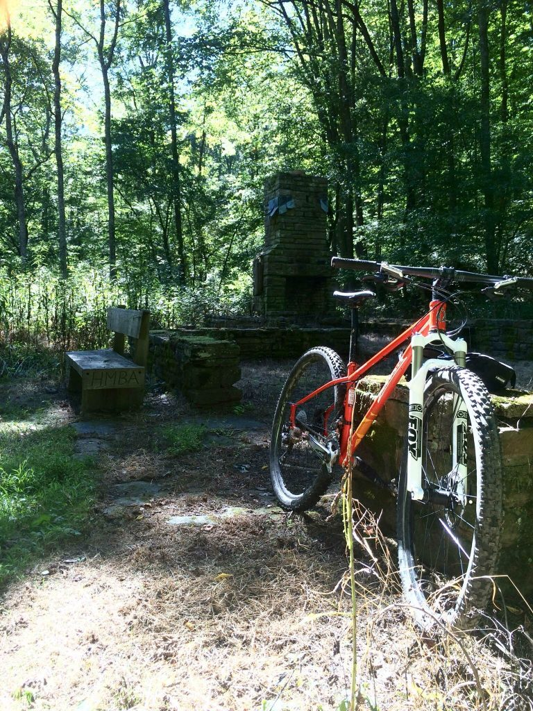 Bike leans in Brown County State Park, IN.
